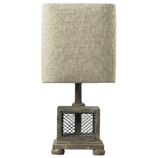 """Chicken Wire Mini 13"""" H Table Lamp with Drum Shade"""
