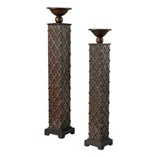 2 Piece Composite Candle Holder Set