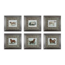 Classic Dogs 6 Piece Framed Graphic Art Set