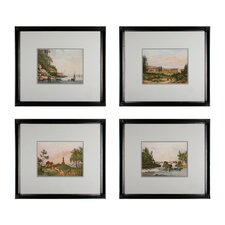 Hudson River 4 Piece Framed Painting Print Set
