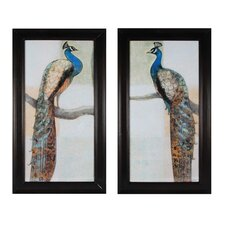 Resting Peacock 2 Piece Framed Painting Print Set (Set of 2)