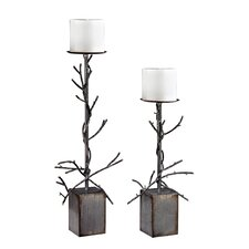 2 Piece Metal Branch Candelabra Set