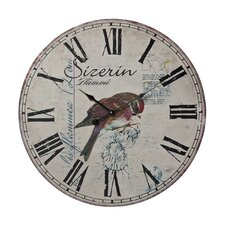 "Oversized 23.6"" Robin on Branch Printed Wall Clock"