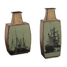 2 Piece Metal Vase Set with Ship Print