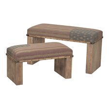 2 Piece National Wooden Bench Set