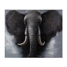 African Elephant Oversized Oil Painting Print on Canvas