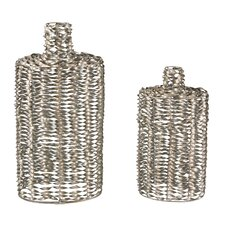 2 Piece Metal Work Vase Set