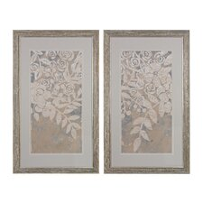 Linen Chintz 2 Piece Framed Painting Print Set