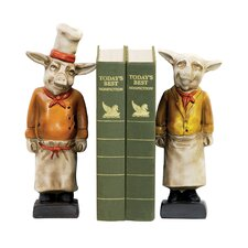 Chef Pig Book End (Set of 2)