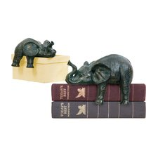 2 Piece Sprawling Elephant Figurine Set