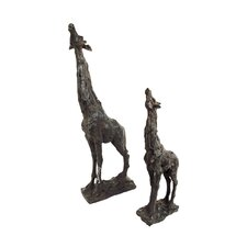 2 Piece Grazing Giraffe Figurine Set