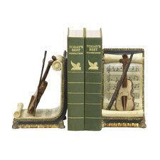 Violin and Music Book End (Set of 2)