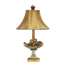 "Love Birds In Bath 25.5"" H Table Lamp with Bell Shade"