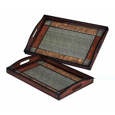 Checked Trays (Set of 2)