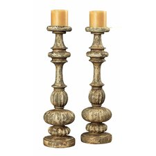 Resin Flemish Carved Candlestick (Set of 2)