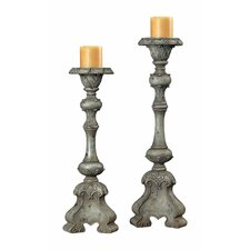 Resin Florentine Carved Candlestick (Set of 2)