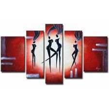 Ebony Dancers 5 Piece Original Painting on Canvas Set