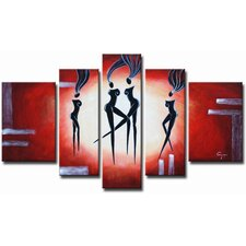 Hand Painted 'Ebony Dancers' Canvas Art