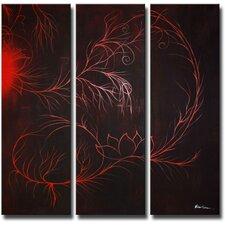 Scarlet Smoke 3 Piece Original Painting on Canvas Set