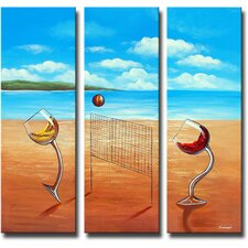 Over the Net 3 Piece Original Painting on Canvas Set
