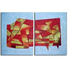 2 Piece Hand Painted 'Abstract Glass' Canvas Art Set