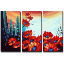 Blooming Season 3 Piece Original Painting on Canvas Set