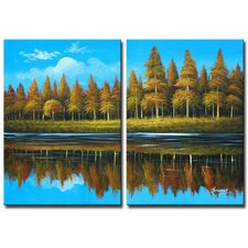Country Lake 2 Piece Original Painting on Canvas Set