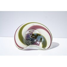 Hand Blown Decorative Dish in Green and Purple