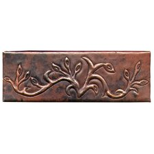 "Vine 6"" x 2"" Copper Border Tile in Dark Copper"
