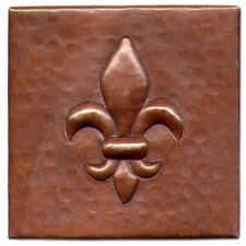 "Fleur De Lis 4"" x 4"" Copper Tile in Dark Copper"
