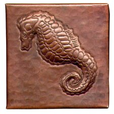 "<strong>D'Vontz</strong> Sea Horse 4"" x 4"" Copper Tile in Dark Copper"