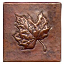 "<strong>D'Vontz</strong> Maple Leaf 4"" x 4"" Copper Tile in Dark Copper"