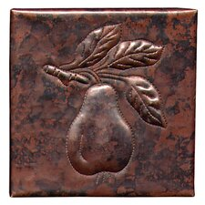 "Pear  4"" x 4"" Copper Tile in Dark Copper"