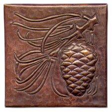 "Pine Cone Large 4"" x 4"" Copper Tile in Dark Copper"