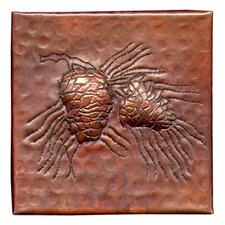 "Pine Cone Small 4"" x 4"" Copper Tile in Dark Copper"