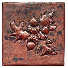"<strong>D'Vontz</strong> Acorn Bushel 4"" x 4"" Copper Tile in Dark Copper"