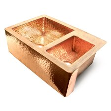 "<strong>D'Vontz</strong> Copper 33"" x 22"" 60/40 Double Bowl Farmhouse Kitchen Sink"