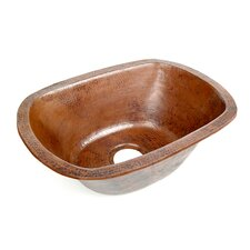 "Copper 21"" x 15"" Rounded Rectangle Hammered Bar Sink"