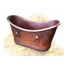 "<strong>D'Vontz</strong> Isabella Copper 67"" x 31"" Small Slipper Tub with Rings"