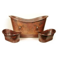 """Isabella Copper 71"""" x 37"""" Large Slipper Tub with Rings"""