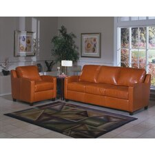 <strong>Omnia Furniture</strong> Chelsea Deco 3 Seat Leather Sofa Set