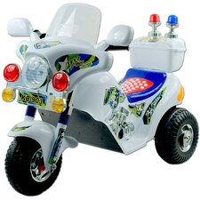 Battery Operated Police Motorcycle in White