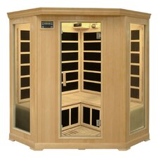 3-4 Person Corner Infrared Sauna with Ten Carbon Heaters and Color Therapy Lights