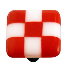 Lil' Squares Cabinet Knob in Brick Red / White
