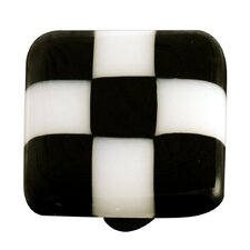 Lil' Squares Cabinet Knob in Black / White