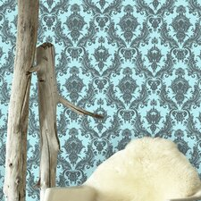 Damsel Temporary Wallpaper in Aqua Grey