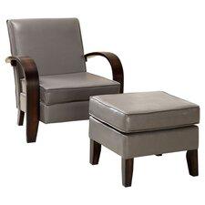Bowed Chair & Ottoman Set