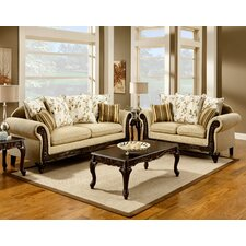 Aveline Polyester-Cotton and Leatherette Sofa Set