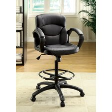 Ebony Mid-Back Leatherette Office Chair with Arms