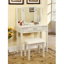 Luisa Modern Vanity Set with Padded Stool and Mirror
